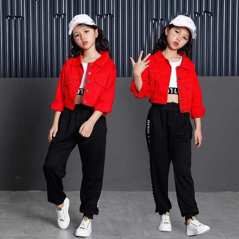 e35a9d004a19 ... Популярные корейские полный Стиль Хип-Хоп Одежда для танцев для  мальчиков и девочек Дети Джаз ...
