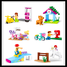 Фотография SLUBAN M38-B0515 City Pet Beauty Home Doll House Building Block 30Pcs DIY Educational Construction Assemble Toys For Children