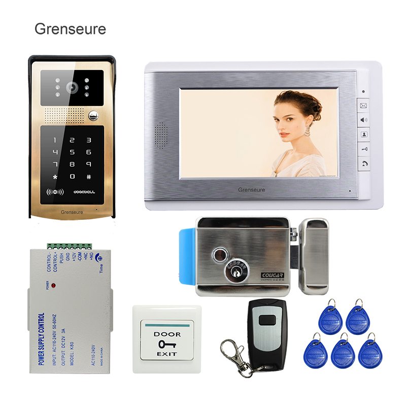 FREE SHIPPING 7 Video Intercom Door Phone System + Golden Metal RFID Code Keypad Access Doorbell Camera + Electric Control Lock free shipping 7 lcd video door phone intercom system 2 screens rfid access code keypad password camera electric control lock