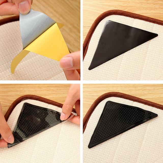 4PC Reusable Anti-skid Rubber Floor Tidy Carpet Mat Washable Rug Gripper Stopper