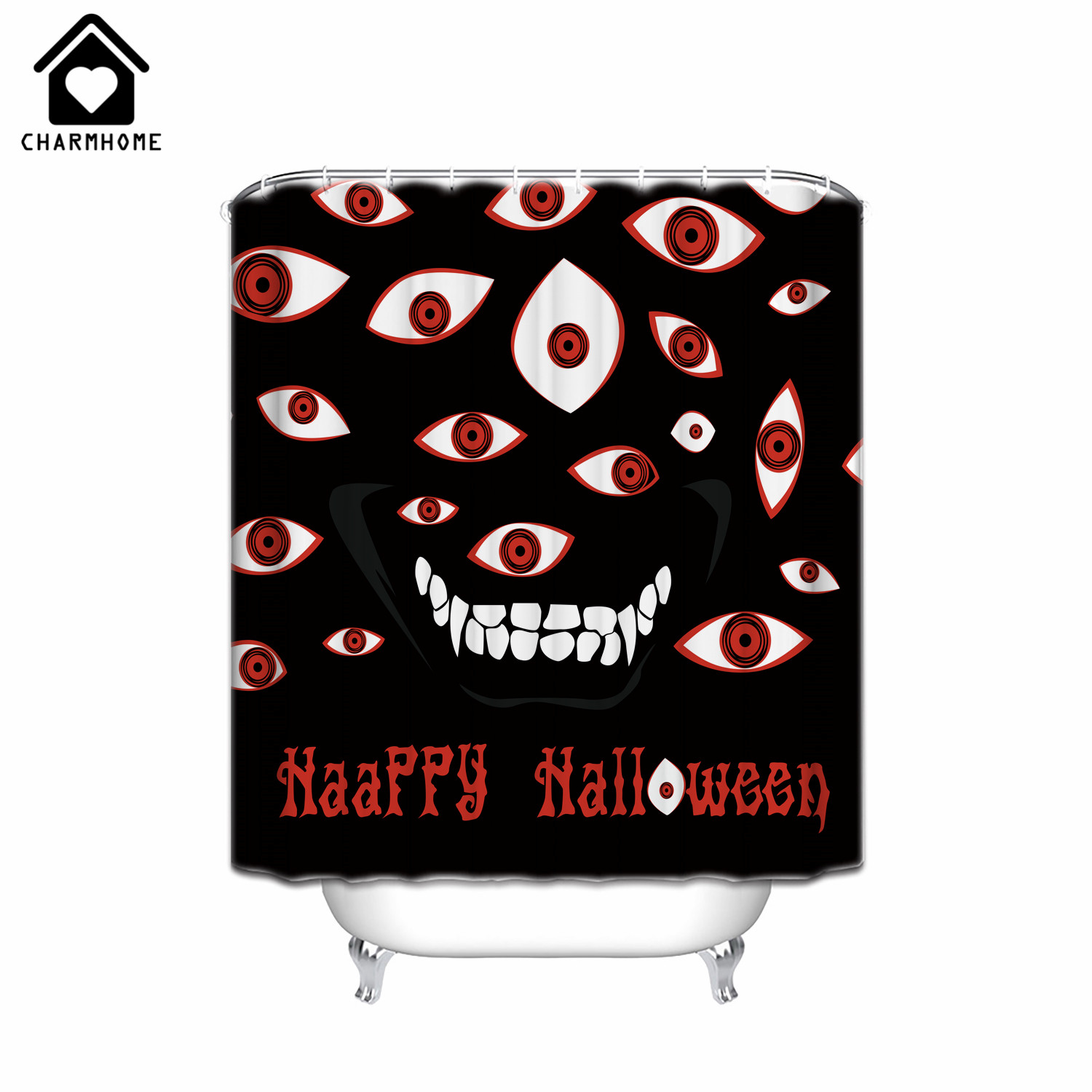 charmhome new horrible eyes waterproof shower curtain halloween bathroom shower curtain decor unique bath curtain with 12 hooks - Halloween Bath Towels
