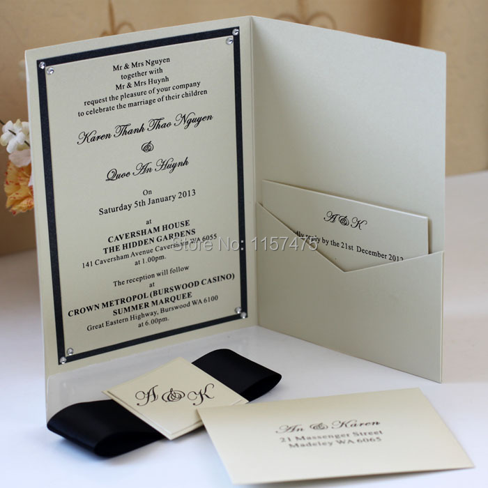 Favorite HI5005 Personalized Pocket Fold Wedding Invitation Cards-in Cards  MC61
