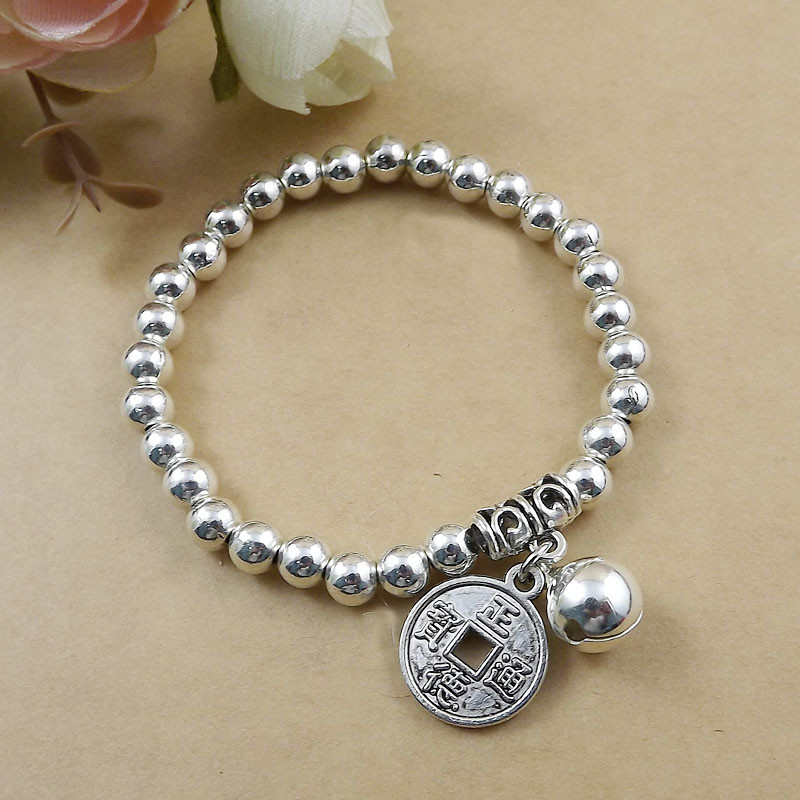 Chinese Coin Charm Silver Bracelet Wholesale Fashion Jewelry Silver Jingle bell Charm Bracelet Chain