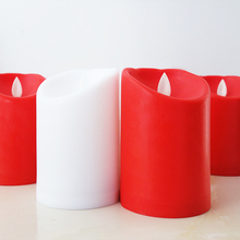 Flickering Flameless Candles LED Battery Operated candles pillar Lamp light for Wedding Valentine Party Decoration(Red White)