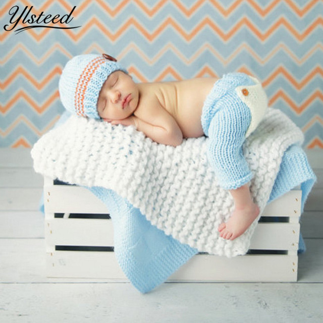 0927f4324 Crochet Baby Boy Costumes Knitted Baby Hat Pants Set Newborn Photography  Props Stripe Contrast Color Baby