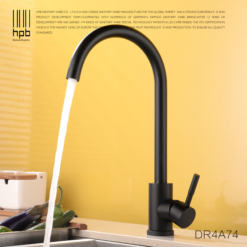HPB high quality brass matte black kitchen sink faucet mixer tap single handle hot and cold water tap kitchen for crane DR4A74 micoe hot and cold water basin faucet mixer single handle single hole modern style chrome tap square multi function m hc203