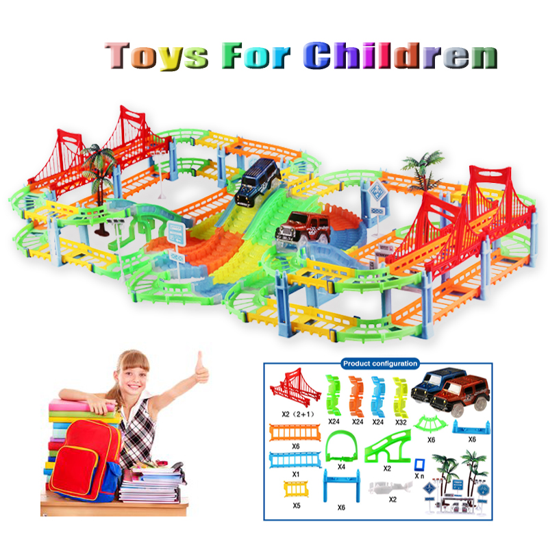 Piste de voiture Route ferroviaire jouets pour enfants bricolage 1:18 lumineux voie en courbe clignotant ensemble modèle de voiture Enfants Tuyaux Racing Magique camion