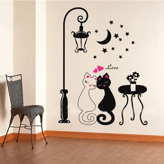 Bricolaje Lindo Parejas Gatos De Dibujos Animados Etiqueta De La