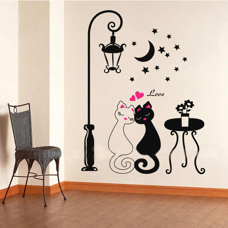 DIY Cute Couples Cats Cartoon Wall Sticker Kids Children's