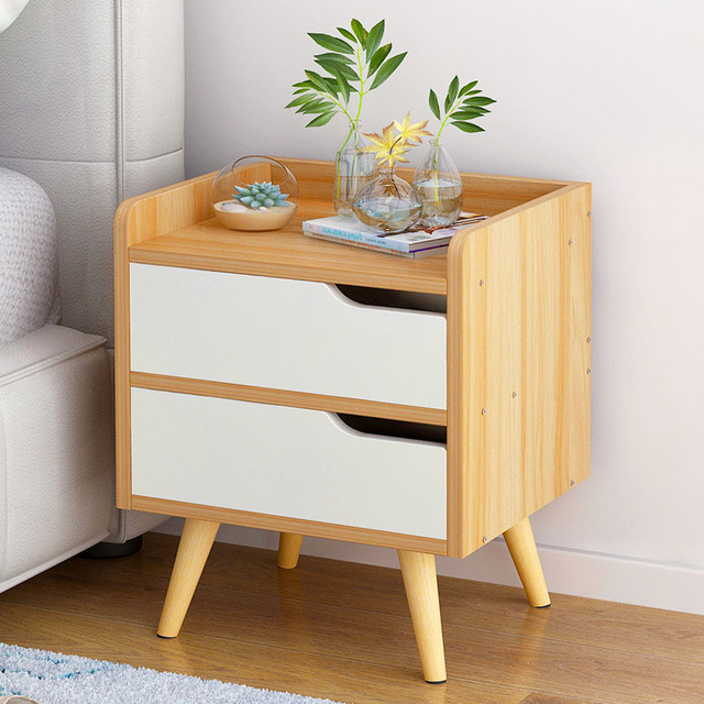 Nordic Style Nightstand Bedside Cabinet Corner Cabinet Small Apartment  Solid Wood Storage Cabinet Living Room Sofa
