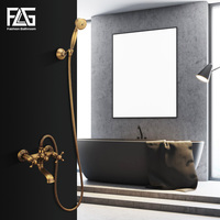 FLG Bathroom Shower Faucet Bath Faucet Mixer Tap Wall Mounted Antique Mixer Faucet Bathtub Crane Bathroom Fixture