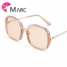 MARC 2019 NEW Brand Summer Sunglasses Women Retro Sun Glasses Vintage Ocean Clear Fashion Big Frame UV400 Oculos Feminino Design