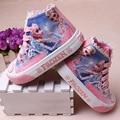 Elsa Anna Crianças Sapatos da princesa Meninas Sapatos Para Crianças Moda 2016 Nova Rainha da Neve do Gelo Criança Lona Casuais Denim Único Sneakers