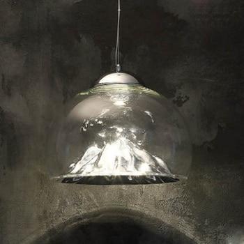 Nowoczesne Proste Galwanicznie Złoty Szkło Pojedyncze Wisiorek Lampy Nordic Kreatywny Góry Projekt LED Restauracja Oświetlenie Dekoracyjne