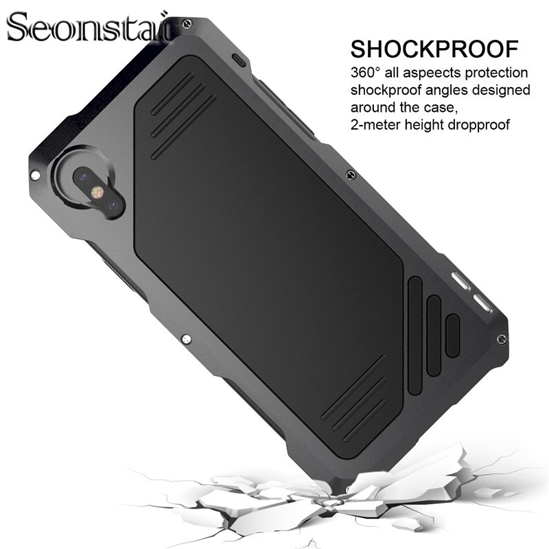 Micro Lens Metal Case for iPhone X Doom Armor Shock Dropproof Shockproof Waterproof Aluminum Cases for iPhone 7 6 6S 8 plus
