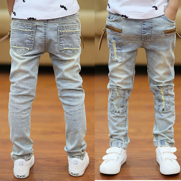 Boys Jeans Long-Trousers Kids Children's Causal Autumn Solid for Big Slim Thin