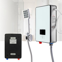 6500W 220V LCD Electric Tankless Instant Water Heater Temperature White Bathroom Self checking Automatically Safety Thermostat