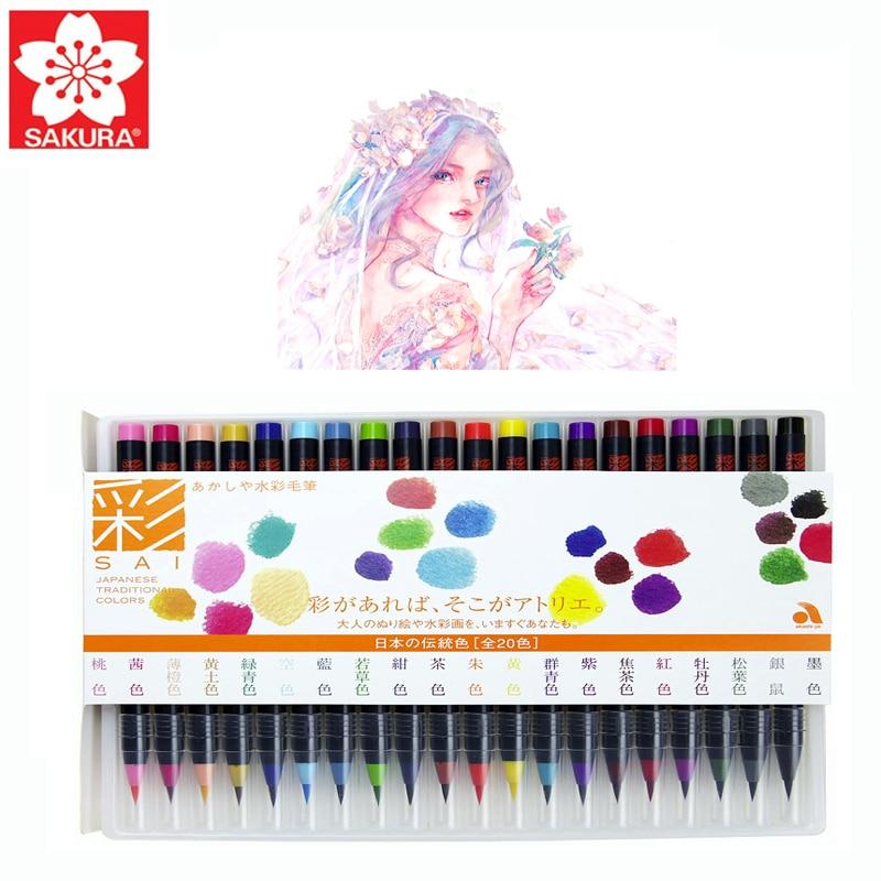 Sakura Watercolor Brush Pen Akashiya Watercolor Pen 20 Colors Nylon Soft Brush Tip Ink Painting Comic Design Painting Supplies