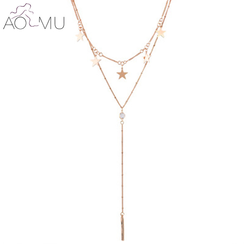 AOMU Punk Style Gold Color Multilayer Chain Necklace Women Alloy Star Choker Necklace Jewelry Accessories