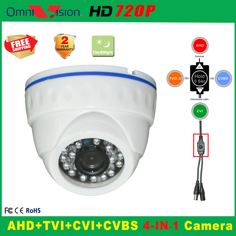 720P Indoor Security AHD TVI CVI Analog CCTV Camera 5*24PCS IR LED Home Video HD Night Vision CMOS Mini Plastic Dome Camera analog hd 1080p tvi camera dome 720p ir 20m night vision video security surveillence indoor 3 6mm lens cctv hdtvi camera