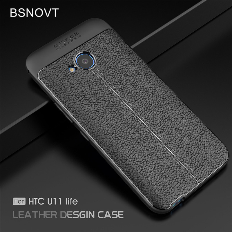 For HTC U11 Life Case Shockproof Luxury PU Leather Soft TPU Anti-knock Cover BSNOVT