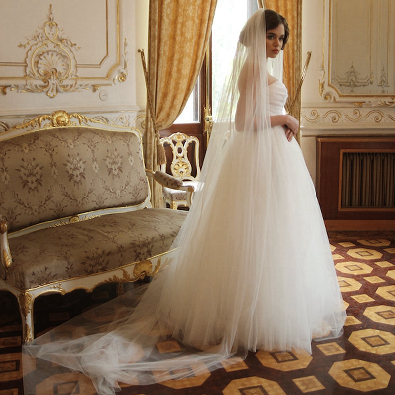 Ivory Cathedral Soft Tulle Wedding Veil Single Tier Bridal Veils With Combs 108 274 cm Custom