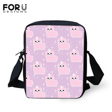 FORUDESIGNS Women Messenger Bags Pink Sheep Prints Crossbody Kids Purse Small Coin Cartoon Animal Pattern Mini Flaps