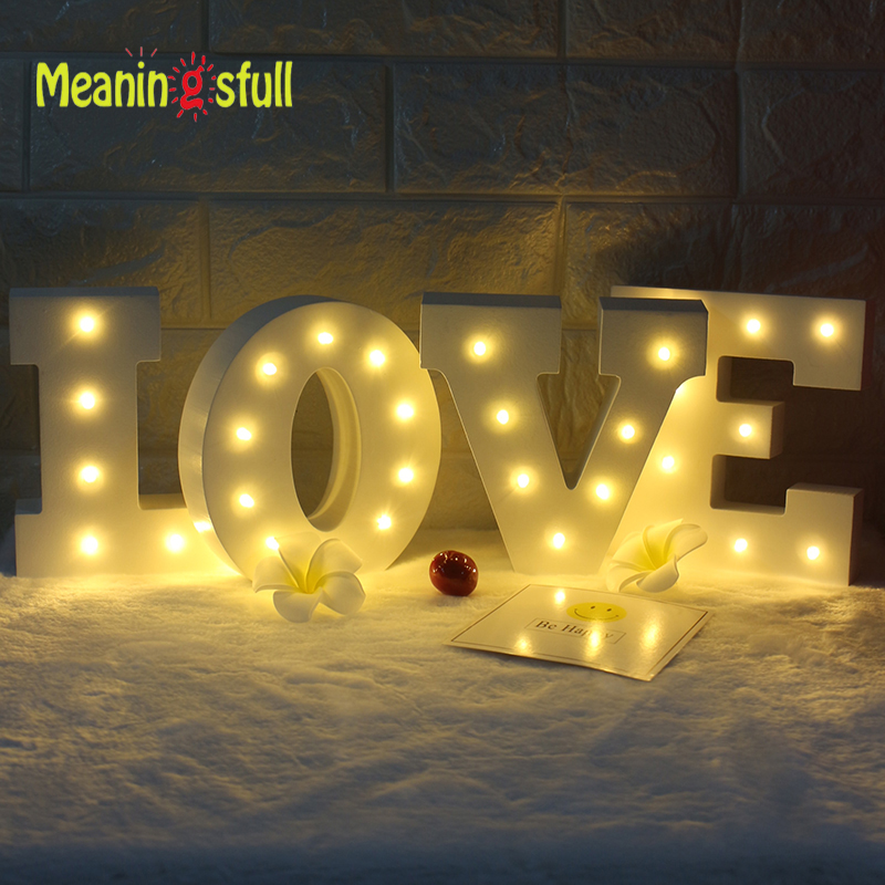 Meaningsfull white wooden 26 letters led night light for Indoor marquee decoration