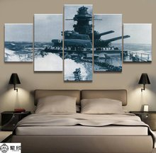 5 Panel Battleship Bismarck Naval military Canvas Printed Painting For Living Room Wall Art Home Decor HD Picture Artwork Poster