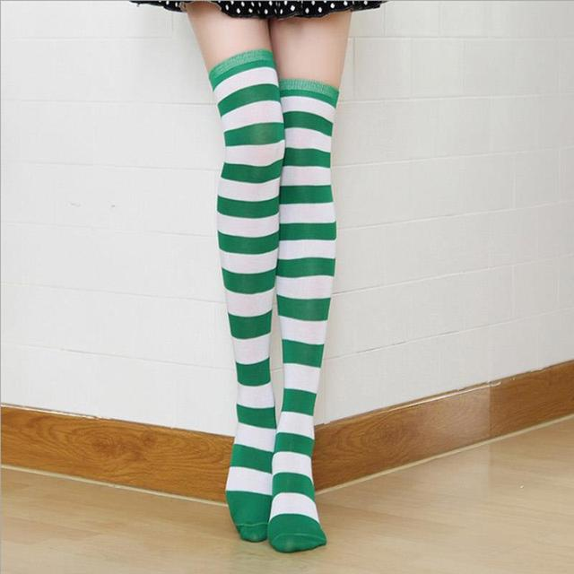 d79328c7ae2 2018 Fashion Japanese Candy Color Long Striped Stockings Sexy Kawaii Women  Over Knee High Socks Girls Lolita Stocking