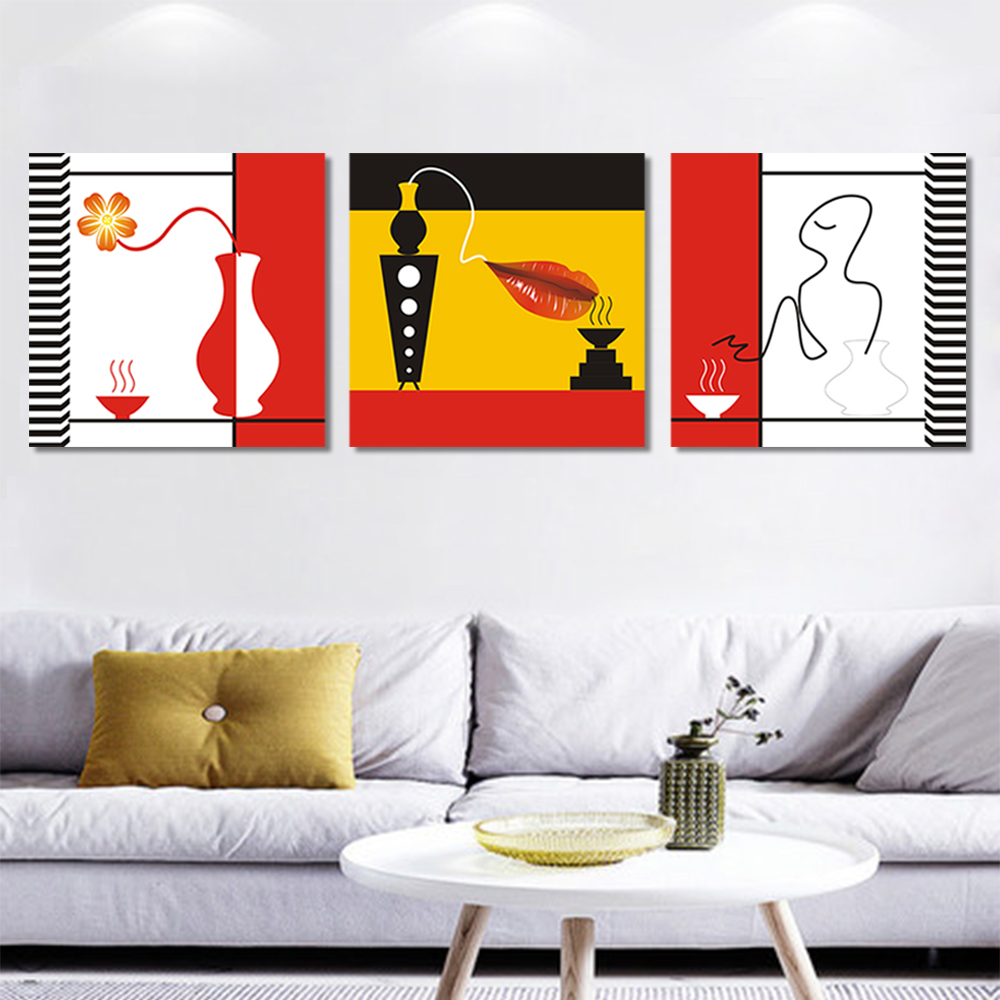 Unframed 3 Pairs Abstract Canvas Painting Vase Red Lips Wall Art Decor Prints Wall Pictures For Living Room Wall Art Decoration