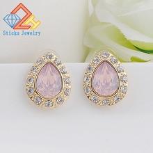Rose Gold Multicolor Water Drop Resin Rhinestone Wedding Party Fine Jewelry Women Stud Earrings недорого