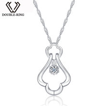 DOUBLE-R necklaces & pendants Genuine 0.01ct Diamond Solid 925 Sterling Silver Jewelry Pendants Fine Jewelry for women Gifts
