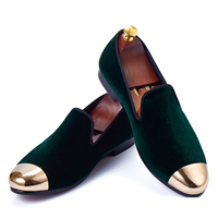 Harpelunde New Arrival Men Loafers Green Velvet Slippers Handmade Dress Shoes Size 7 11