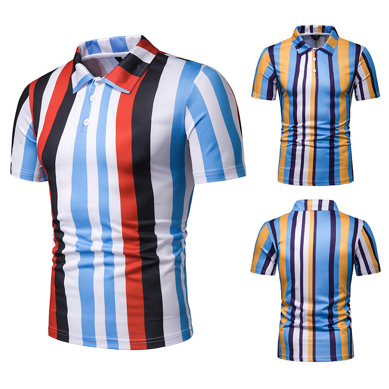 FuyBill Summer 2019 Men's Short-sleeved   Polo   Shirt Men's Colour Stripe Slip Turn-lapel Leisure Golf Breathable Sport   POLO   Shirt