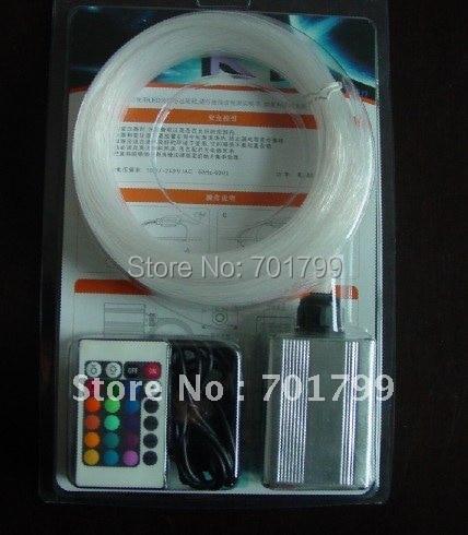 200pcs 0.75mm*2m PMMA optical fiber kit with 3W RGB light engine,IR 24key remote