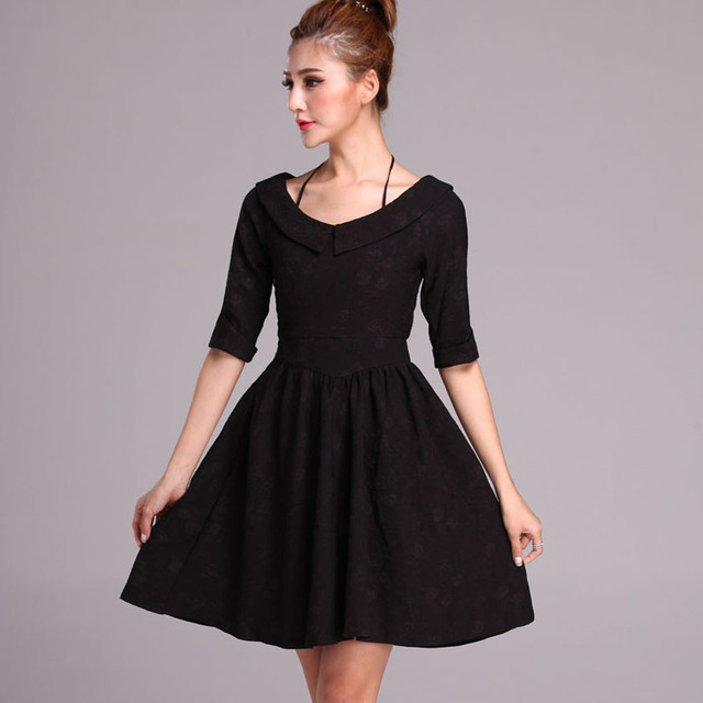 New Women Vintage Black Dress Half Sleeve A-line Plus Size S-4XL Autumn Dresses  High Waist Slim Retro Party Vestidos Big Size 6852b9647e86