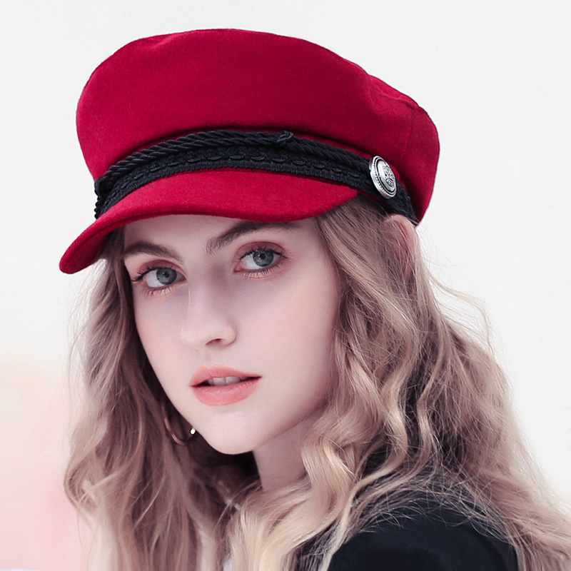 2019 Trend Winter Hats For Women French Style Wool Baker's Boy Hat New Cool Women Baseball Cap Black Visor Hat Gorras Casquette(China)