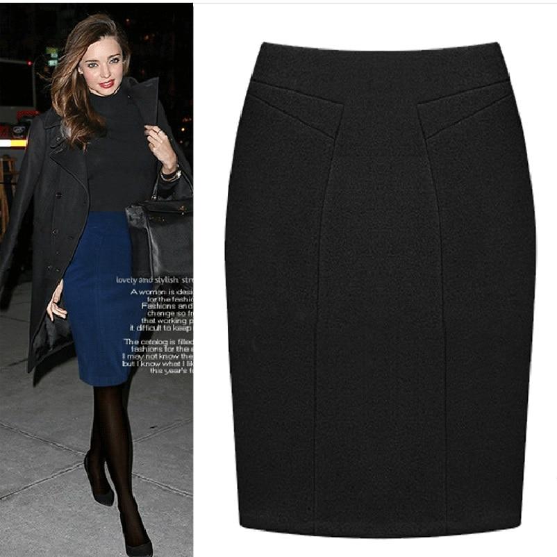 Plus Size Female Knee Length Slim Midi Skirt 2019 Autumn And Winter Fashion High Waist Woolen Women Casual Pencil Skirts
