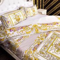 Высокого класса люкс royal Европа французский Италия дизайн в стиле рококо Объёмный рисунок (3D принт) medusa king size черный и золотой хлопок вилла п