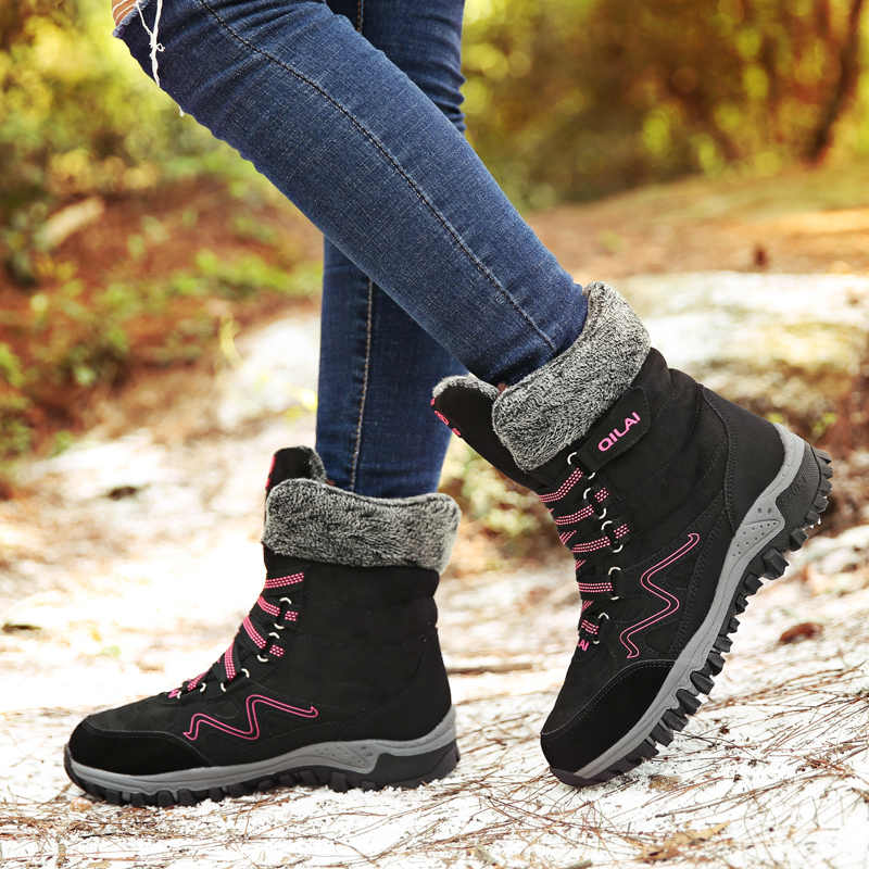 Frauen Winter Schnee Stiefel High Top Sneakers Kurze Plüsch Schuhe Warme Mid-Kalb Stiefel Wildleder Leder Botine Wasserdicht Botas mujer 2019