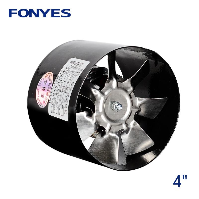 4 en línea conducto de aire del ventilador de metal tubo de ventilación de escape mini ventilador extractor de baño ventilador de pared 100mm 220 V