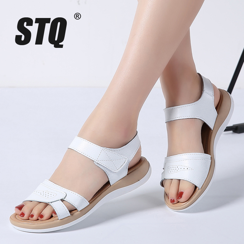 STQ Flat Sandals Ankle-Strap White Genuine-Leather Ladies 1805