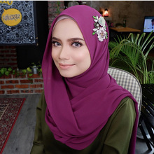 1 pc bubble chiffon hijab scarf shawls Ladies muslim fashion plain wraps with beads flower crystal long scarves/scarf 180*75cm