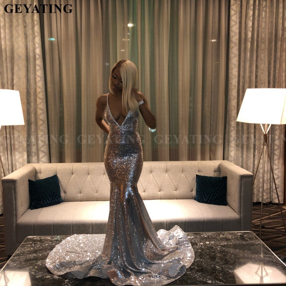 Bling Silver Sequined Mermaid Long African   Prom     Dresses   2019 Deep V-Neck Backless Plus Size Black Girls Graduation Party Gowns