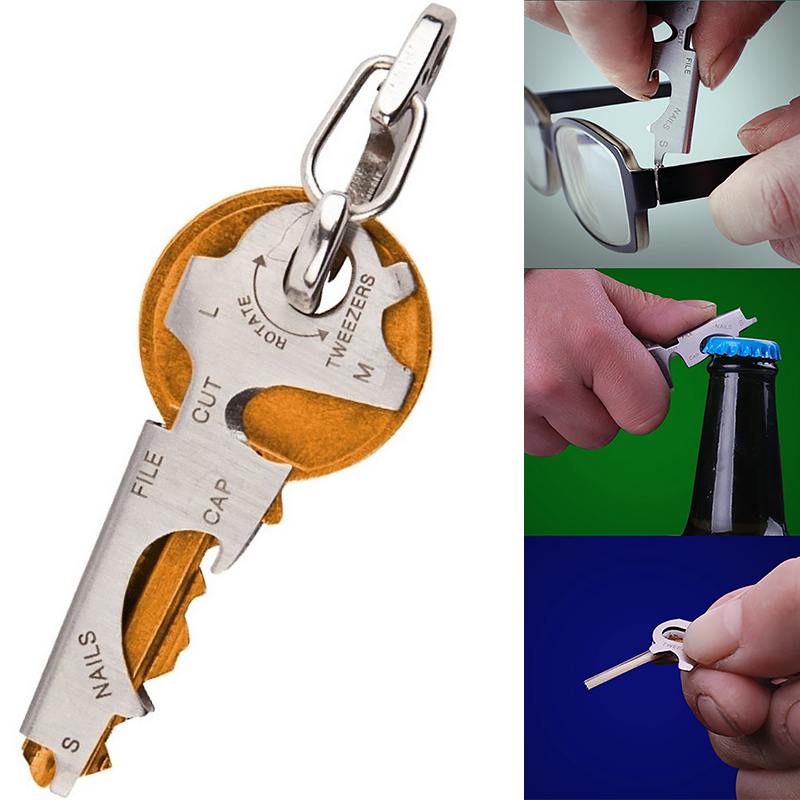 8 in1 Multi Tool Key Stainless Steel Outdoor Multi-functional Tool Utility Multi Key Ring Chain Bottle Opener cute small house lizard bottle opener key chain random one
