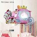 Мультяшная креативная люстра-Карета для девочек, спальни, комнаты принцессы, детская комната, Современная Милая Розовая подвеска принцессы...