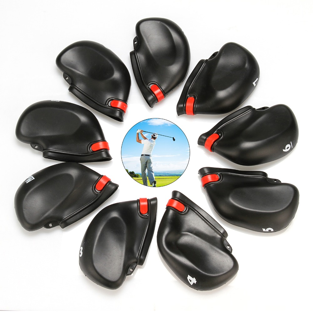 9 pcs/set Golf Club Head Covers PVC Rubber Golf Club Iron Head Covers Protectors 3-SW Fit All Irons Black Headcovers