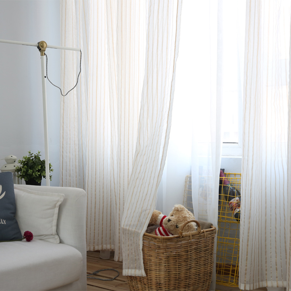 White sheer curtains bedroom - Japanese Curtains For Living Room Blind Voile Window Blackout Curtains Bedroom Stripe White Tulle Curtains Blackout Sheer Drapes