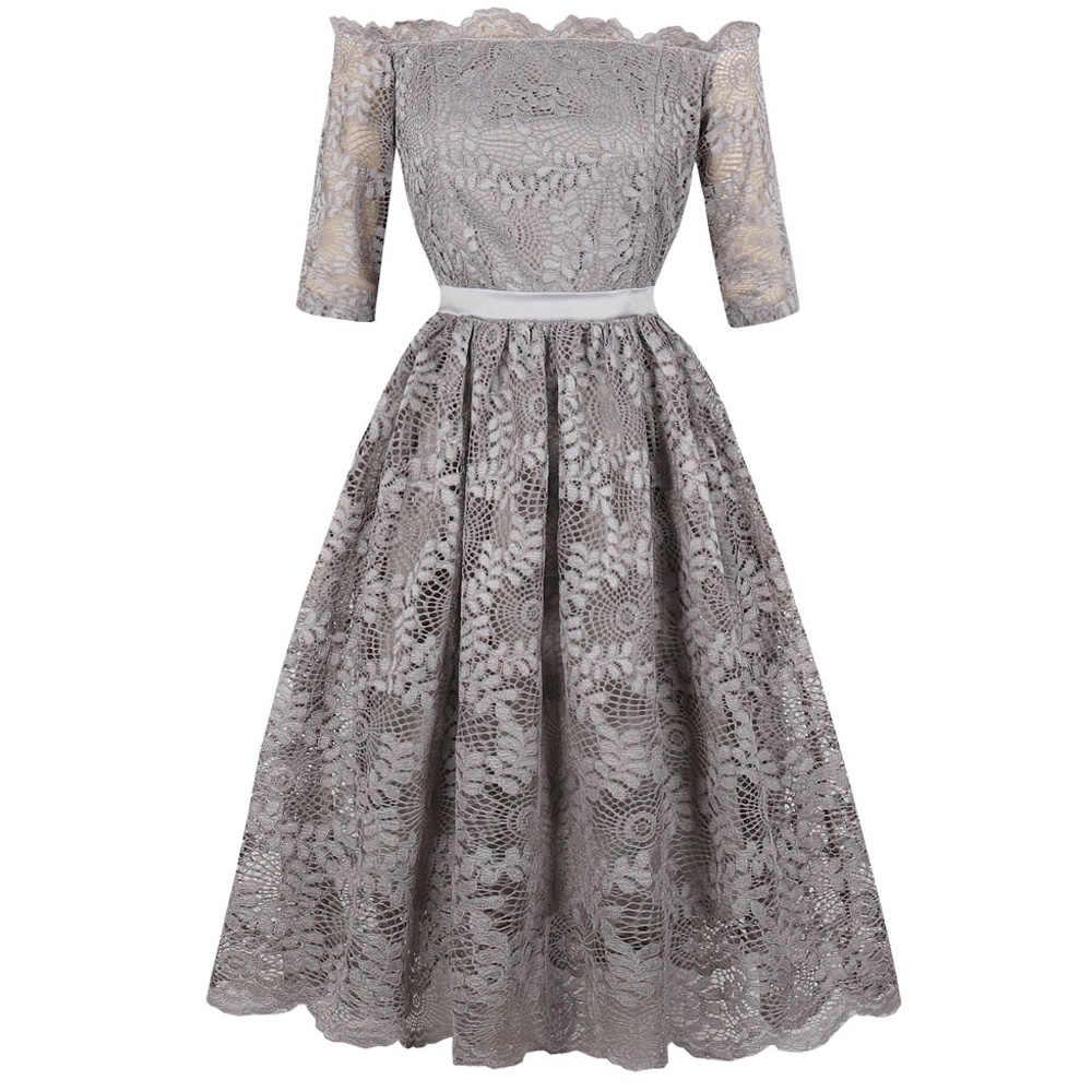 05d108b035b0f Kenancy Plus Size Lace Vintage Party Dress Sexy Slash Neck Half Sleeves  Retro Dress Elegant Style